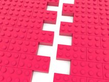Two sides of toy bricks in red color before connecting.3d illustration. In backgrounds Royalty Free Stock Photography