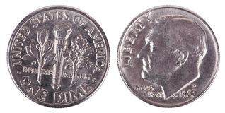 Isolated Dime - Both Sides Frontal Royalty Free Stock Photography