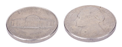 Isolated Nickel Both Sides Stock Image