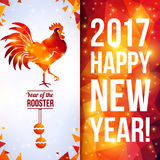 Two sides vertical flyer with pattern and Rooster. Two sides vertical flyer with geometric pattern and Rooster. Vector illustration. Chinese astrological sign Royalty Free Stock Photos
