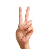 Two signal raise up, making by hand. Isolated over white background Royalty Free Stock Photos