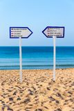 Two signposts standing on sandy beach royalty free stock photo