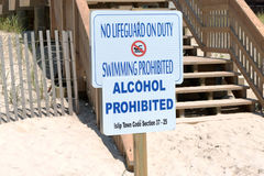 No Lifeguard on Duty Sign stock photos