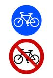 Signs: Cycle track and bicycle ban royalty free stock images