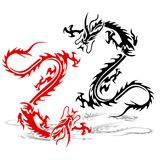 Two silhouette of a dragon red and black in a fight.Tattoo on. A white background Royalty Free Stock Image