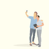 Two Silhouette Men Taking Selfie Photo On Smart Phone Hold Tablet Stock Photos