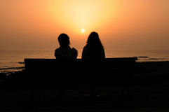 Two Silhouetted Girls Stock Photography