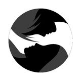 Two silhouettes. Two profile silhouettes on white background. Vector illustration Royalty Free Stock Photos