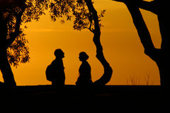 Two silhouettes Royalty Free Stock Image