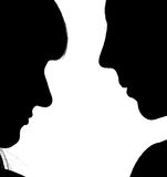 Two silhouettes Royalty Free Stock Photo