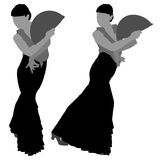 Two silhouettes of female flamenco dancer. On the white background for your design royalty free illustration