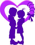 Two silhouettes in the heart. With ribbon Royalty Free Stock Image