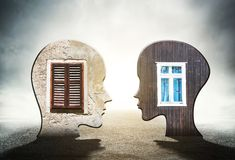 Two silhouettes of human head with windows inside Royalty Free Stock Photo