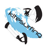 Two silhouettes of kitesurfing men Stock Photo