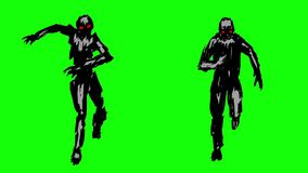 Two silhouettes of running zombies on the camera stock footage