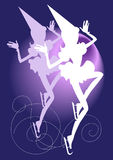 Two silhouettes of skaters girls Royalty Free Stock Image