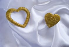 Two silk heart Stock Photography