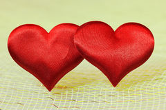Two Silk red heart Stock Images