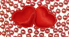 Two Silk red hearts Stock Photography