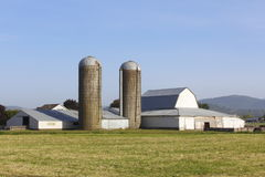 Two Silos on a Farm Royalty Free Stock Images
