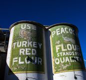 Two Silos at the Lehi Flour Mills in Utah stock photo