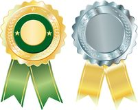Two silver badges Royalty Free Stock Image