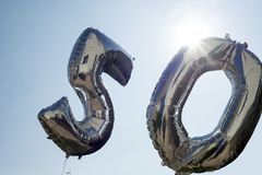 Two silver balloons for a 50th Stock Image