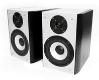 Two silver and black speakers Stock Image