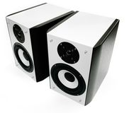 Two silver and black speakers Stock Photography