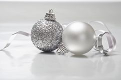 Two Silver Christmas Baubles Royalty Free Stock Photos