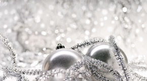 Two silver Christmas baubles Royalty Free Stock Photography