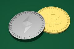 Two silver coins with the symbol of the Ethereum, Etherium above and a gold one with the Bitcoin symbol below on a green backgroun. D, 3d rendering Royalty Free Stock Photography