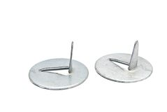 Two silver color push pins. On white Stock Photo