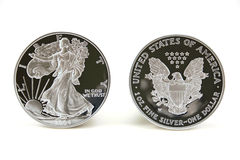 Two Silver Dollars stock image