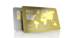 Two silver and gold credit cards Royalty Free Stock Photography