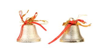 Two silver jingle bells. Stock Images