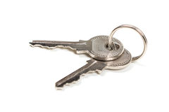 Two silver keys stock photos