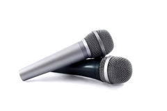 Two silver microphones isolated over white Royalty Free Stock Photo