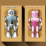 Two silver and pink humanoid robots in boxes Stock Photos