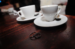 Two silver wedding rings Stock Photos