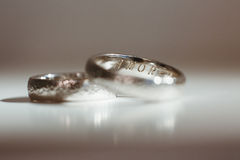 Two silver wedding rings Stock Photos