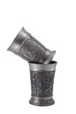 Two silver  wine goblets Stock Images