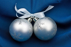Two silvery  fur-tree spheres Royalty Free Stock Image