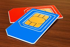 Two sim cards on the wooden table. 3D. Rendering royalty free illustration