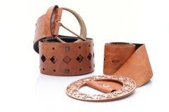 Two similar Lady's leather stylish belt stock image