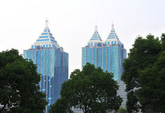 Two similar skyscrapers Royalty Free Stock Photo