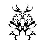 Two simmetric fairies. Vector  Illustration Silhouette of two simmetric fairies with magic heart on the middle Stock Image