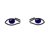 Two simple abstract bllue eyes. On the white background Royalty Free Stock Photography