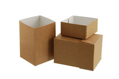 Two simple carton boxes Stock Photos
