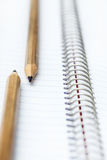 Two simple pencil. On the background of notebook Royalty Free Stock Photography